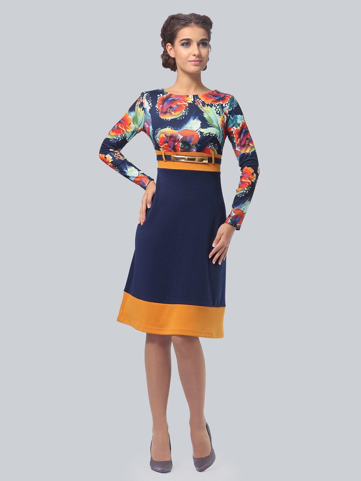 Платье синее с цветочным принтом   4043560   фото 3