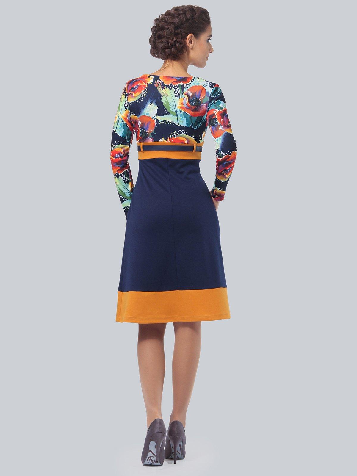 Платье синее с цветочным принтом   4043560   фото 4