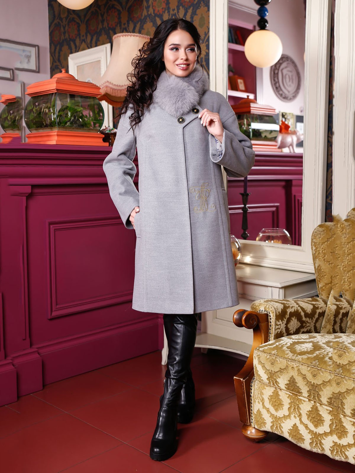 Пальто сіре | 4052243