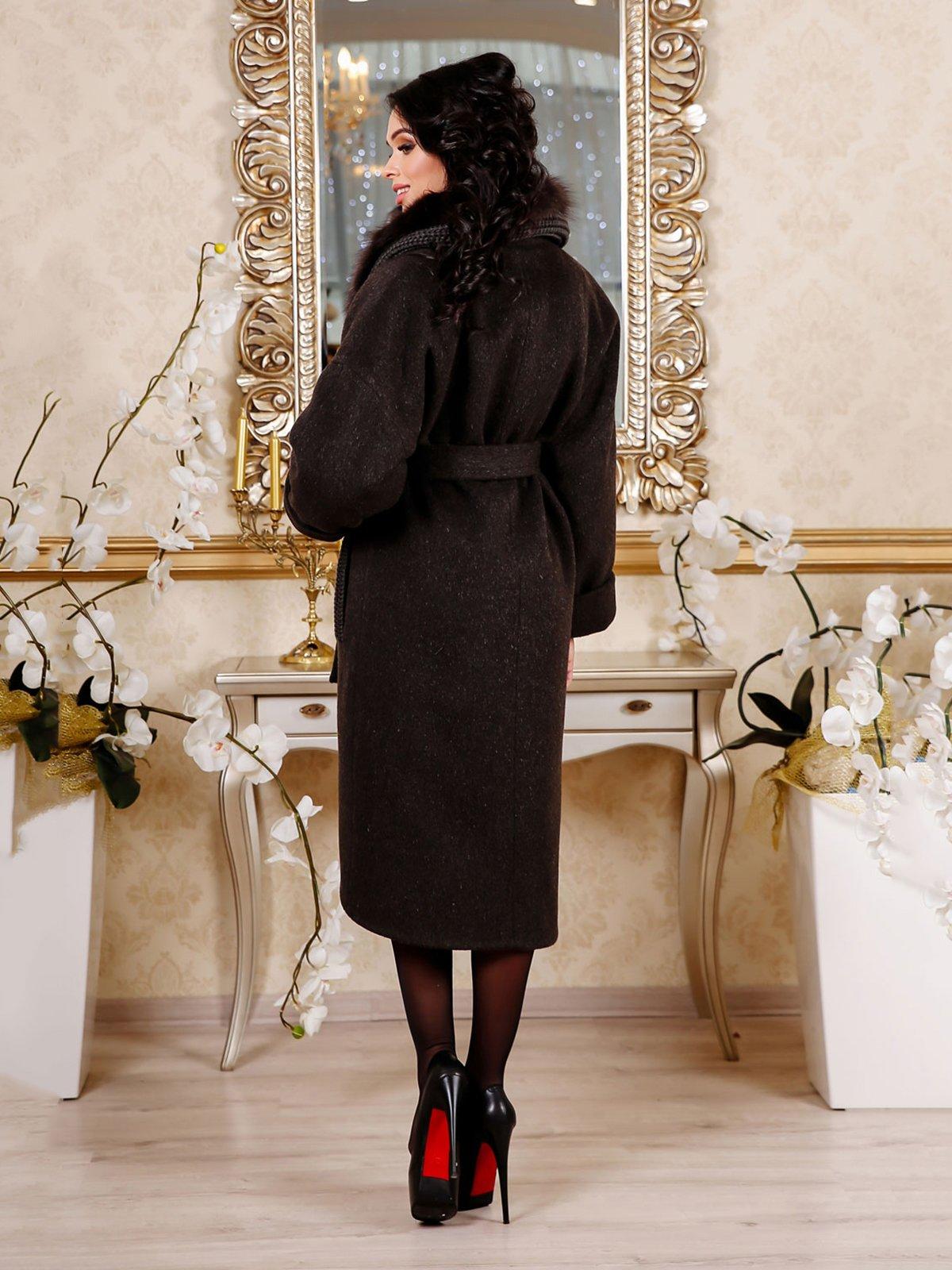 Пальто темно-коричневое | 4052436 | фото 2