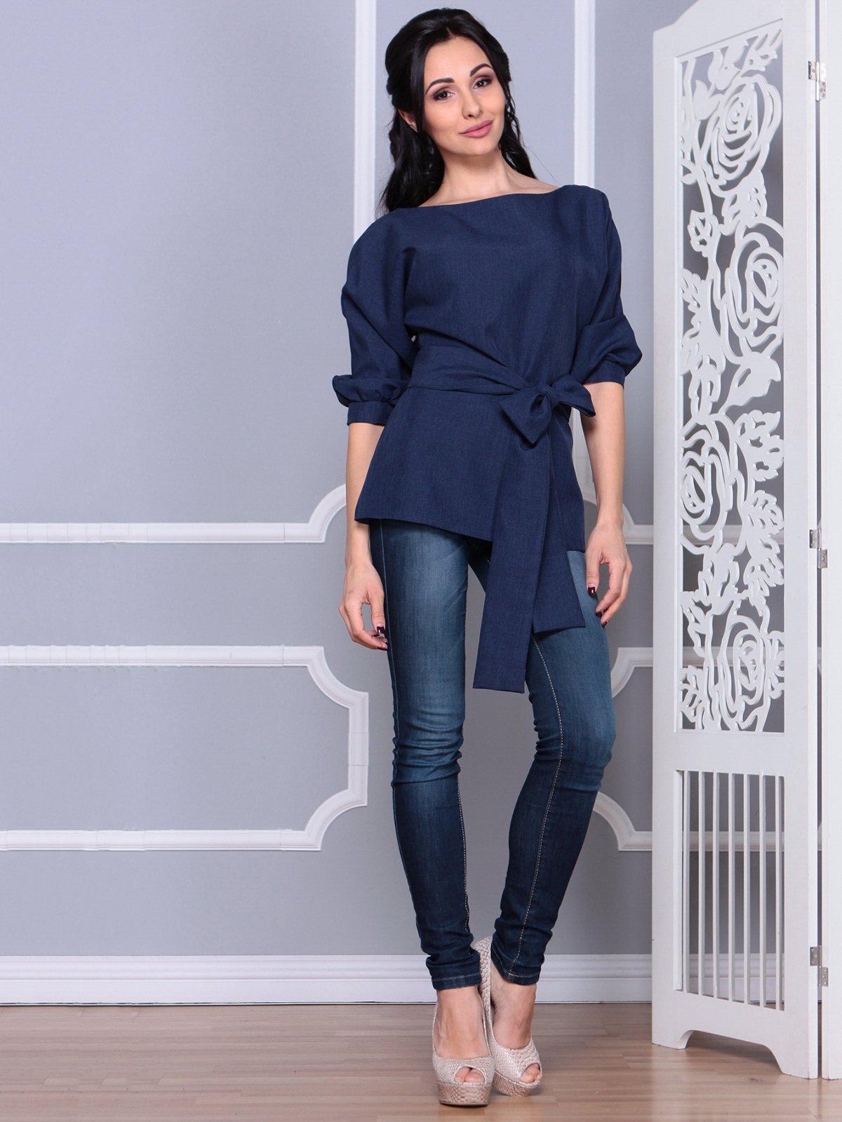 Блуза темно-синяя   4028055   фото 4
