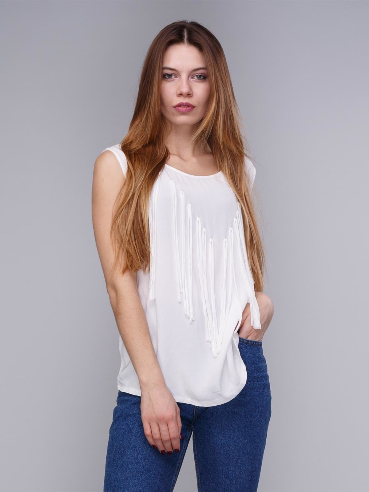 Блуза біла з бахромою | 1899235