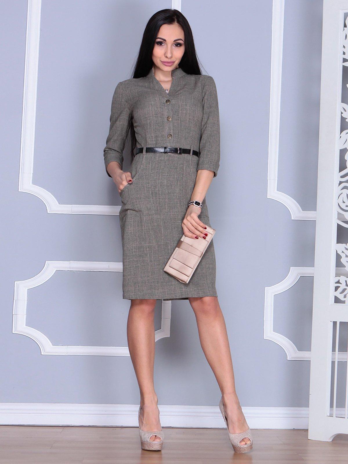 Платье цвета бежевый хаки | 4064996 | фото 3