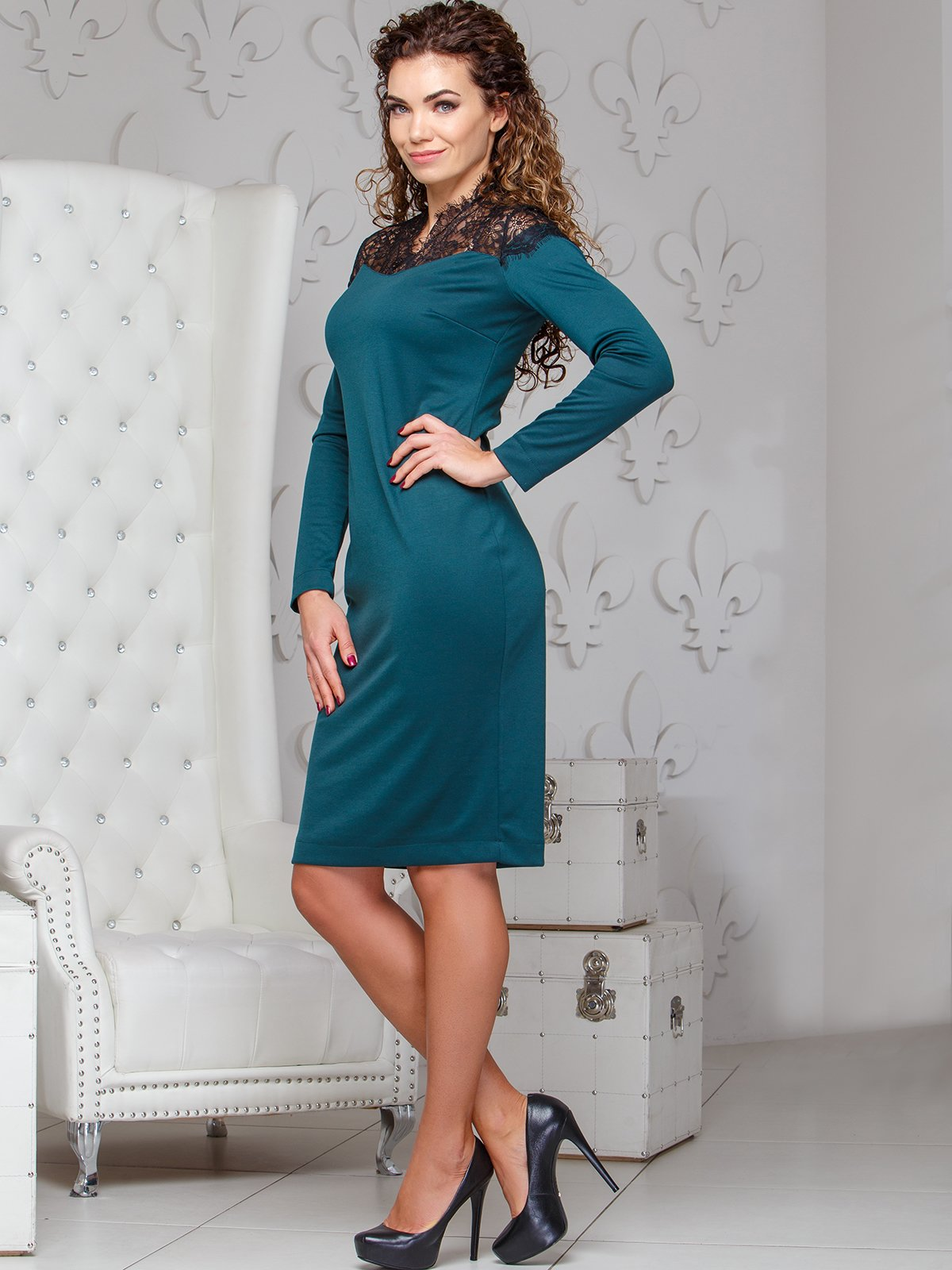 Сукня з мереживом  смарагдового кольору | 4066363