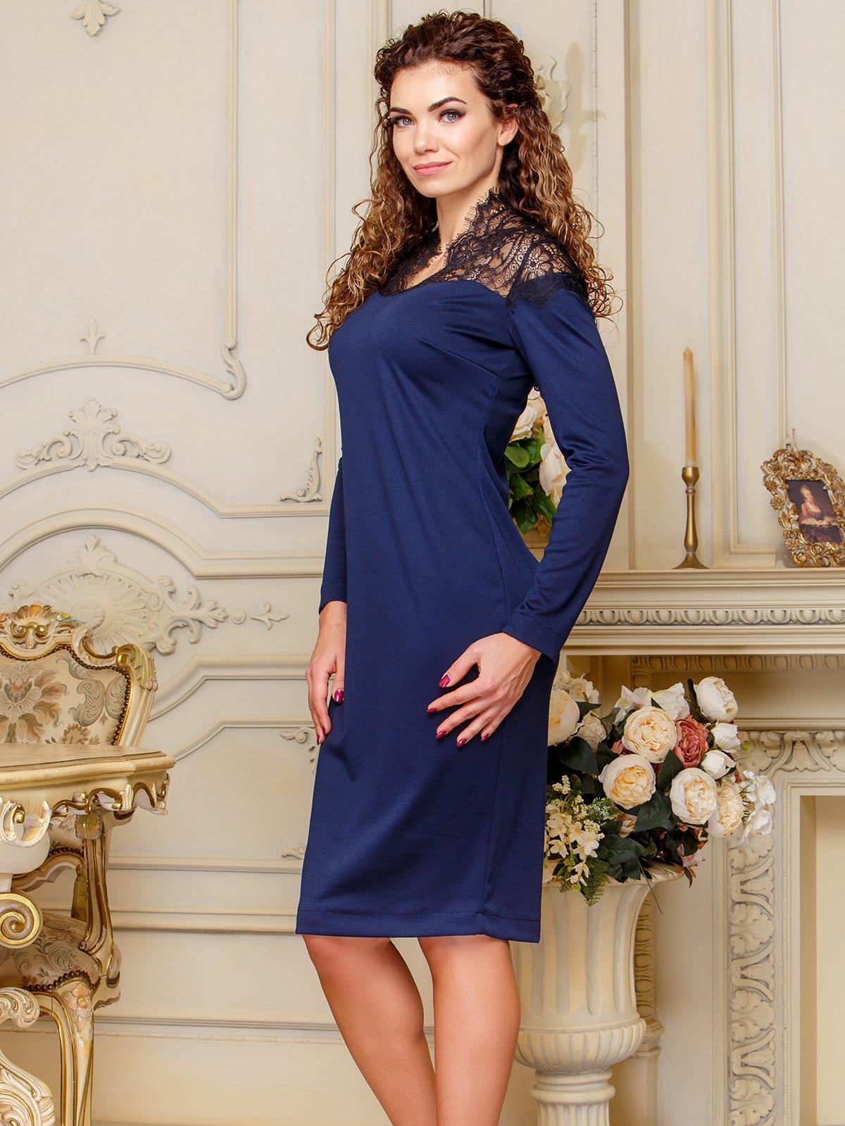 Сукня з мереживом темно-синього кольору | 4066364