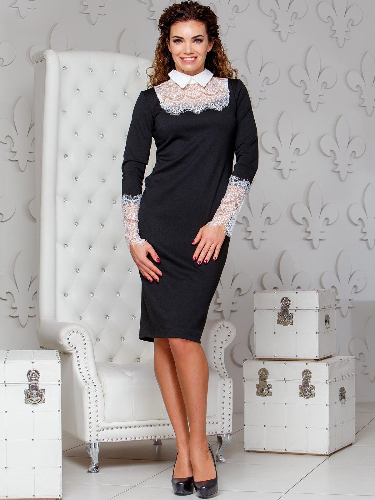 Сукня-олівець з мереживом чорного кольору | 4066368