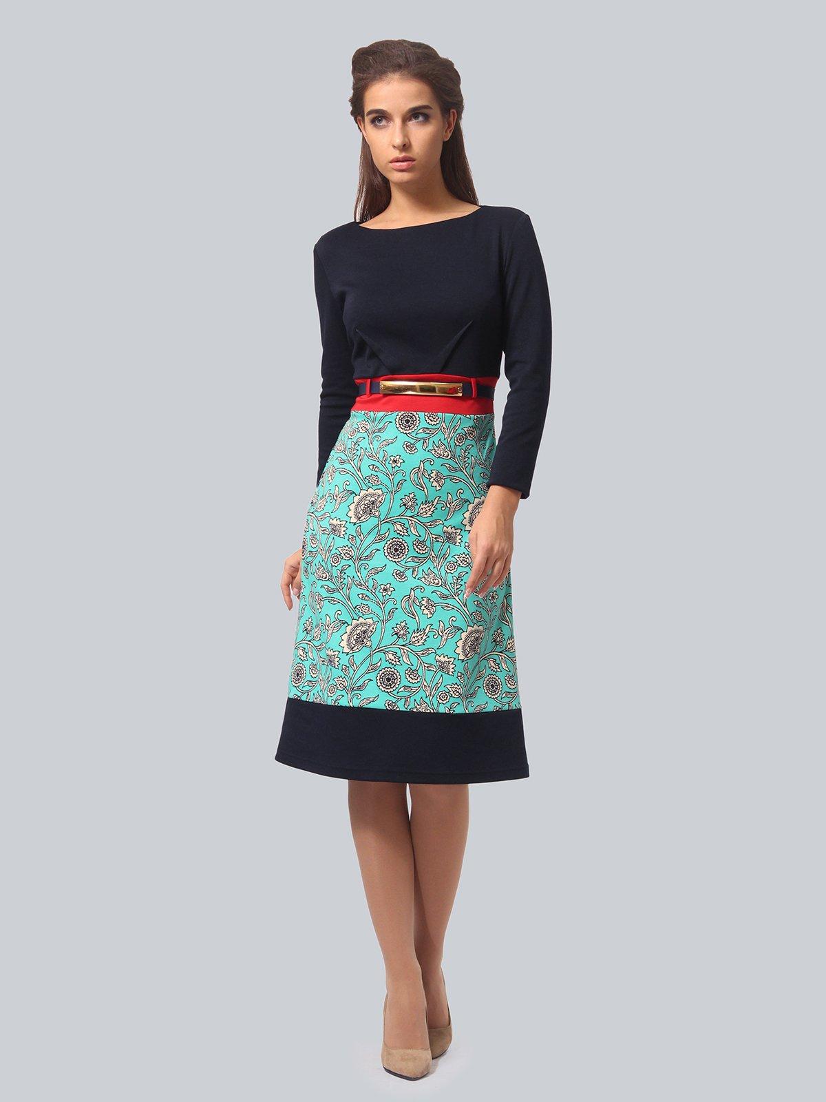Платье двухцветное с принтом   4090671
