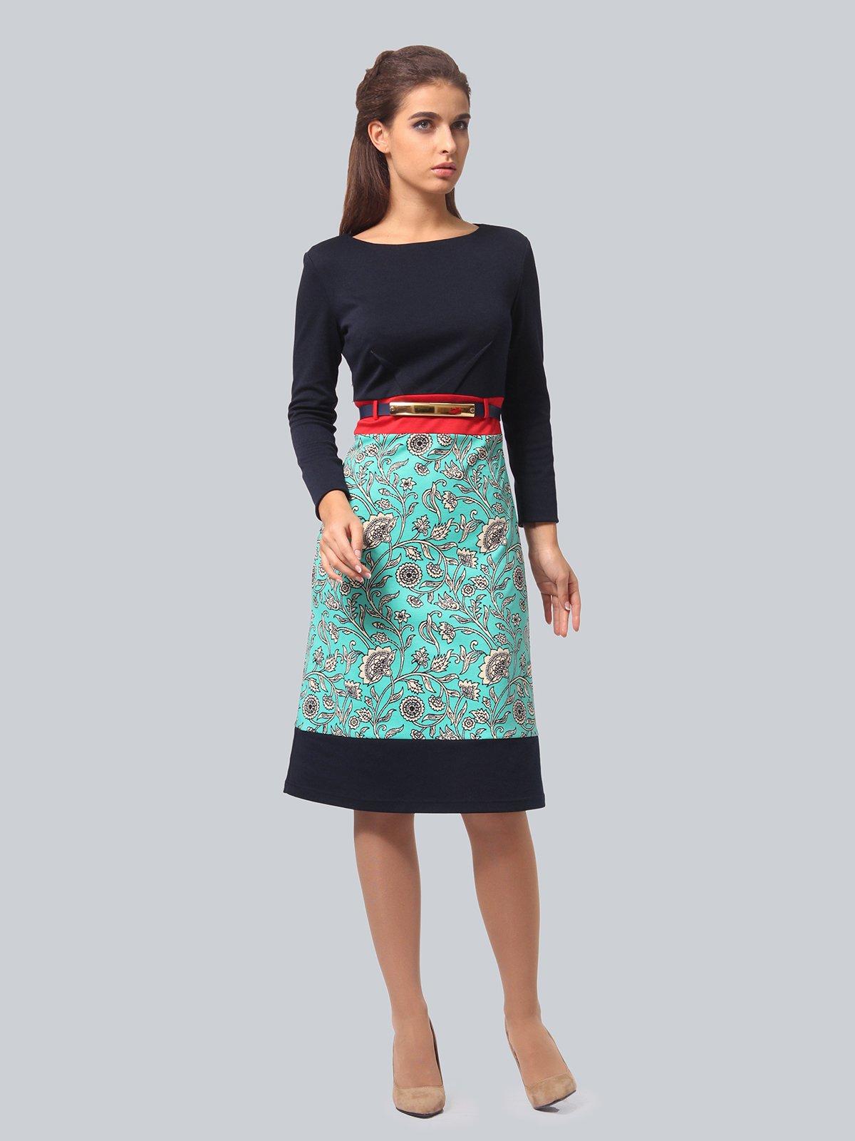 Платье двухцветное с принтом   4090671   фото 2