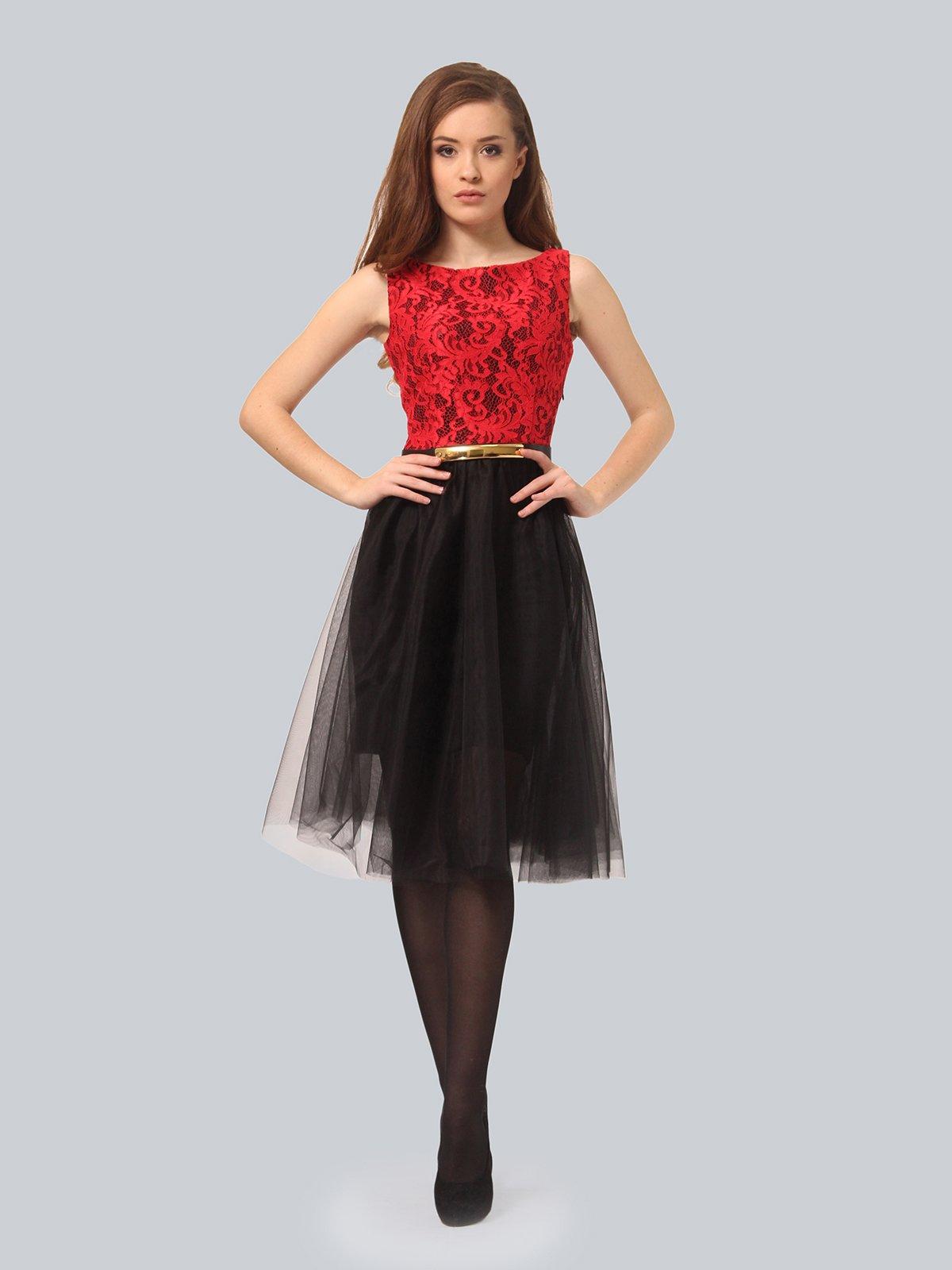 Платье черно-красное | 4090676 | фото 4