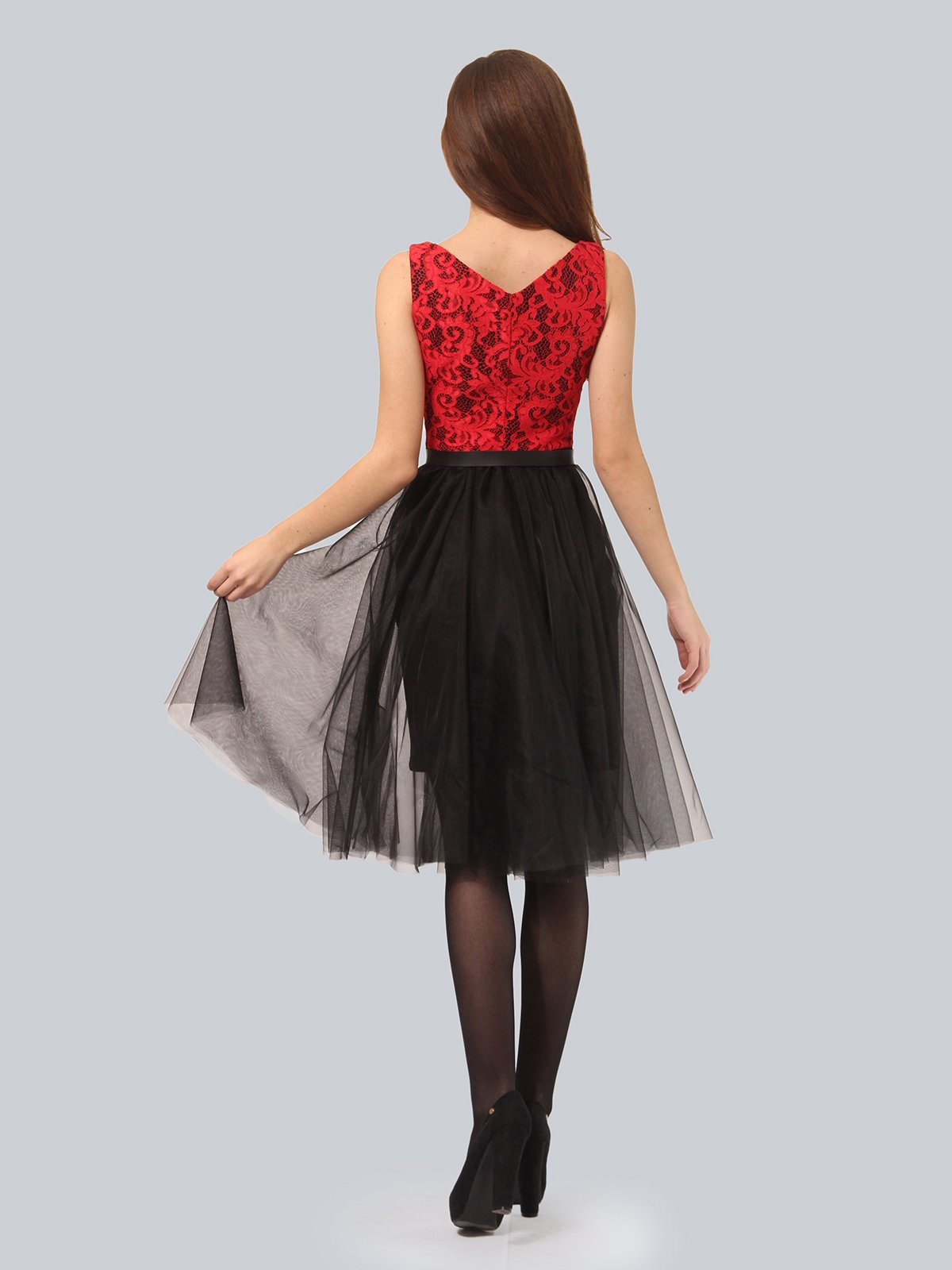 Платье черно-красное | 4090676 | фото 5