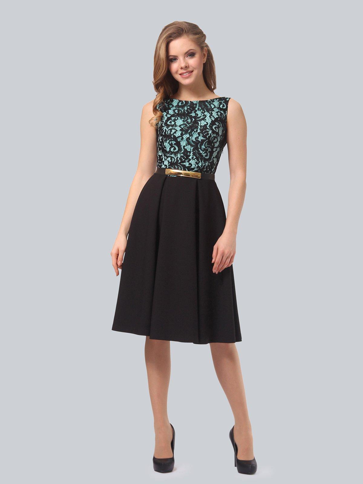 Платье черно-мятного цвета | 4090963