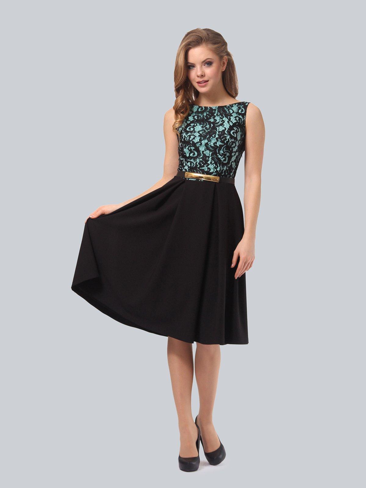 Платье черно-мятного цвета | 4090963 | фото 2