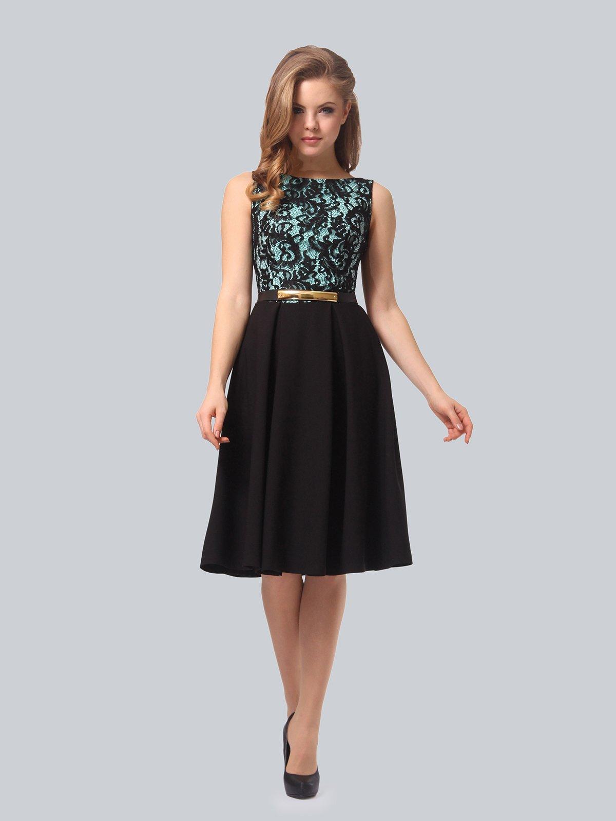 Платье черно-мятного цвета | 4090963 | фото 3