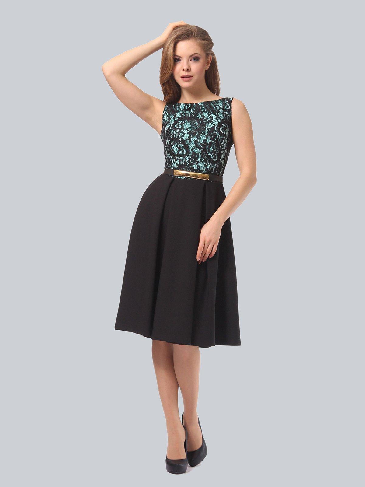 Платье черно-мятного цвета | 4090963 | фото 4