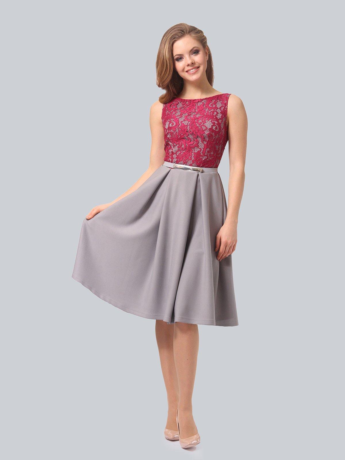 Платье серо-розовое | 4090965 | фото 2