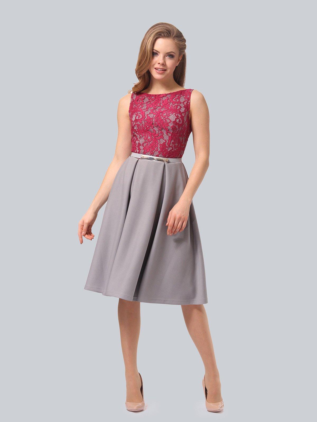 Платье серо-розовое | 4090965 | фото 3