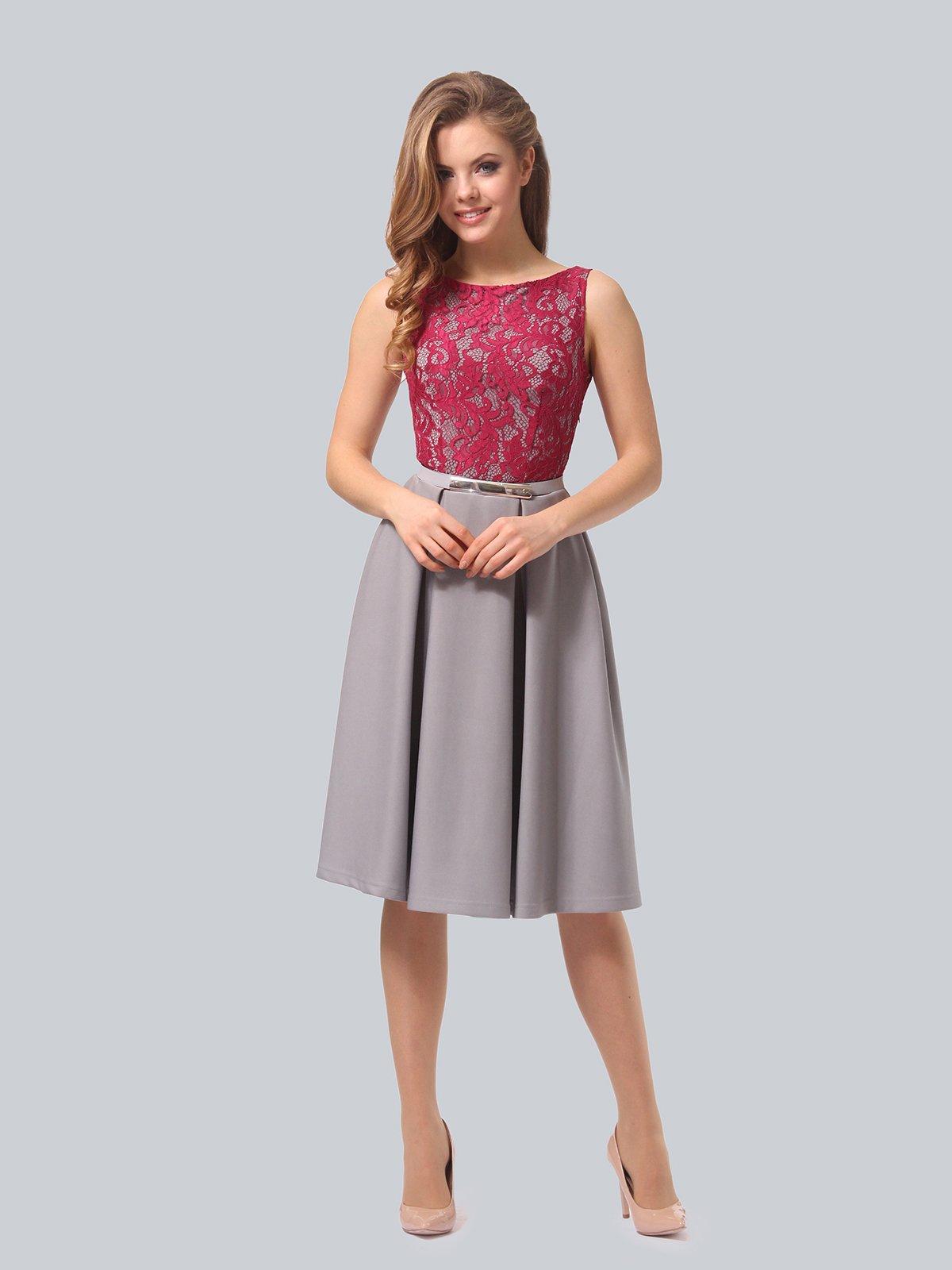 Платье серо-розовое | 4090965 | фото 4