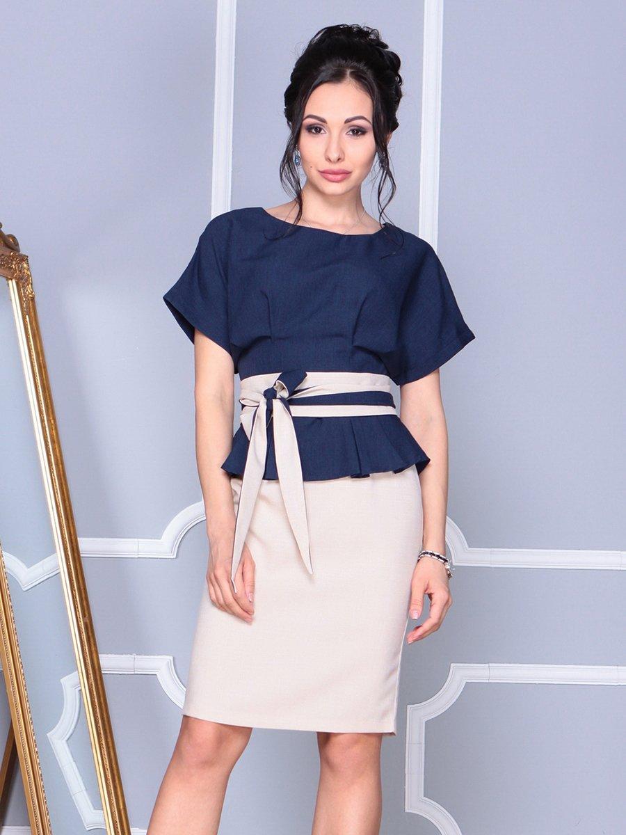 Платье бежево-синее | 4092895