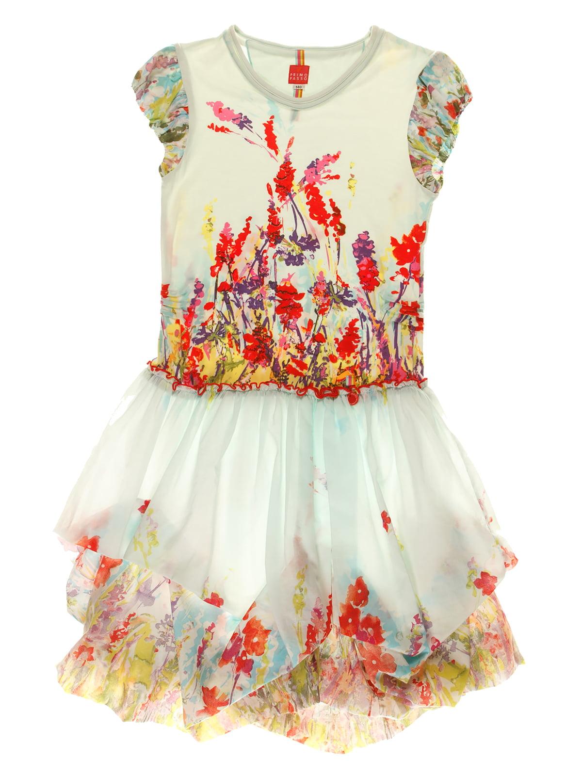 Платье голубое в цветочный принт | 4064876