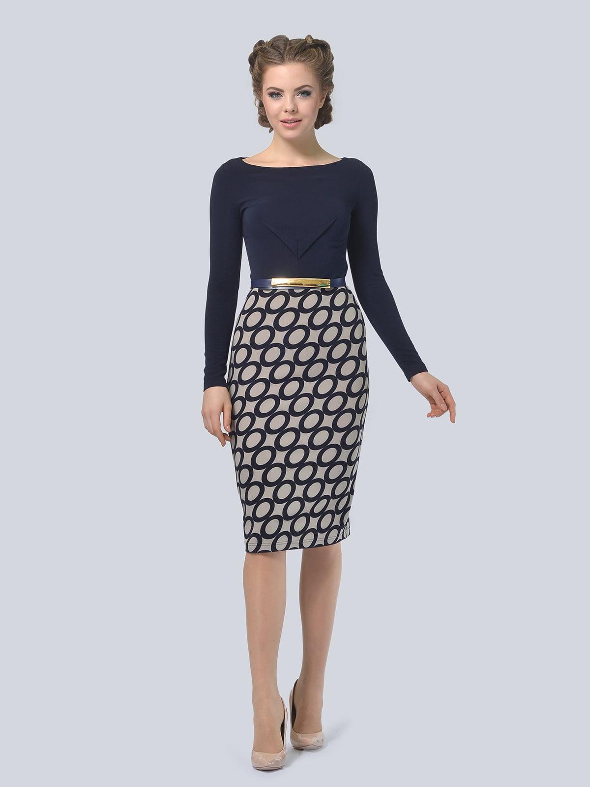 Платье темно-синее с принтом   4103001   фото 3