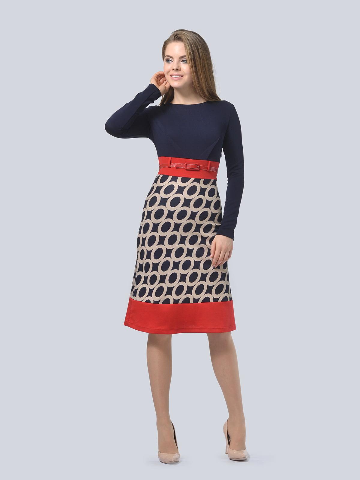 Платье темно-синее с принтом | 4103036