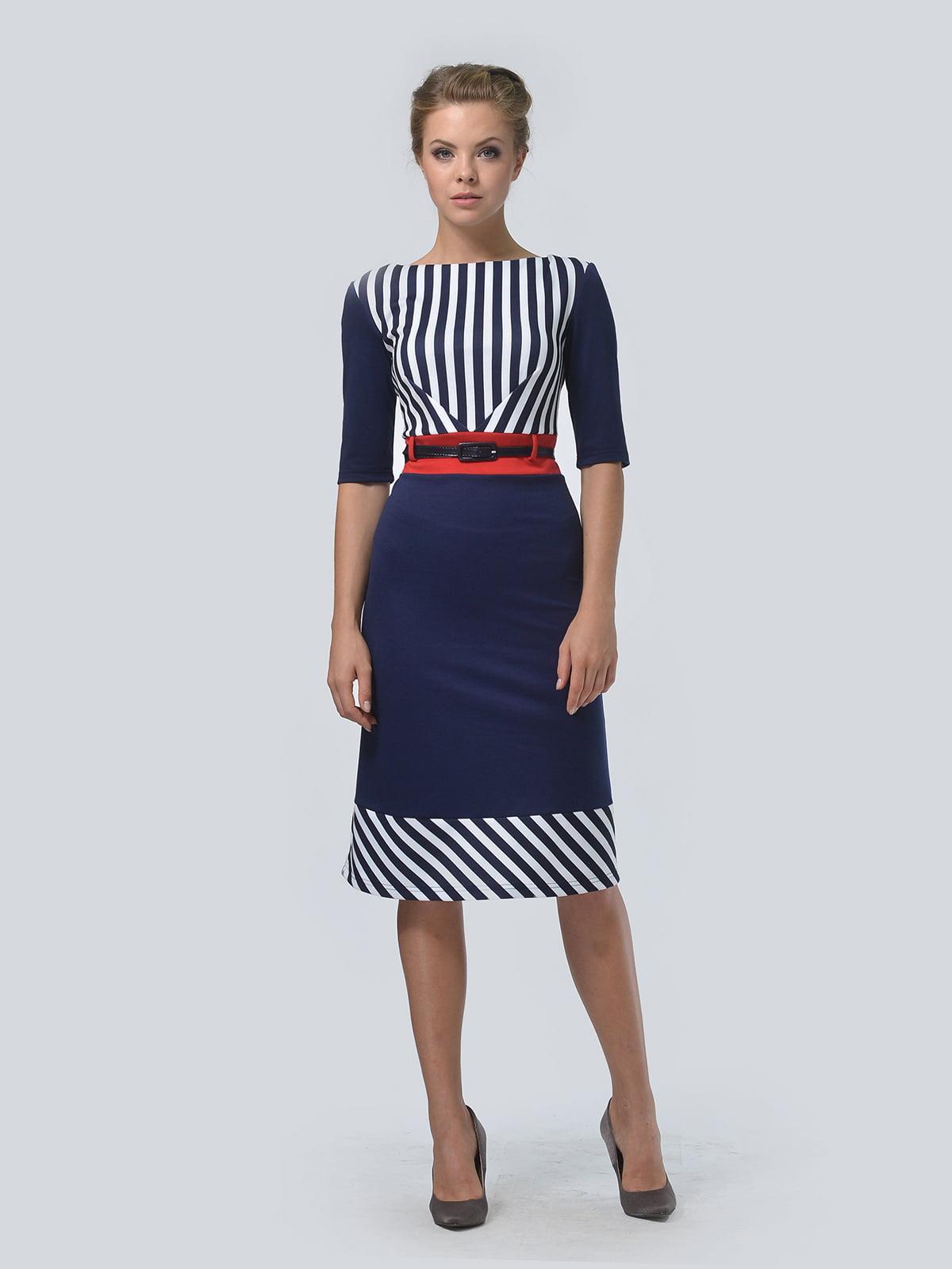 Платье темно-синее в полоску | 4103037