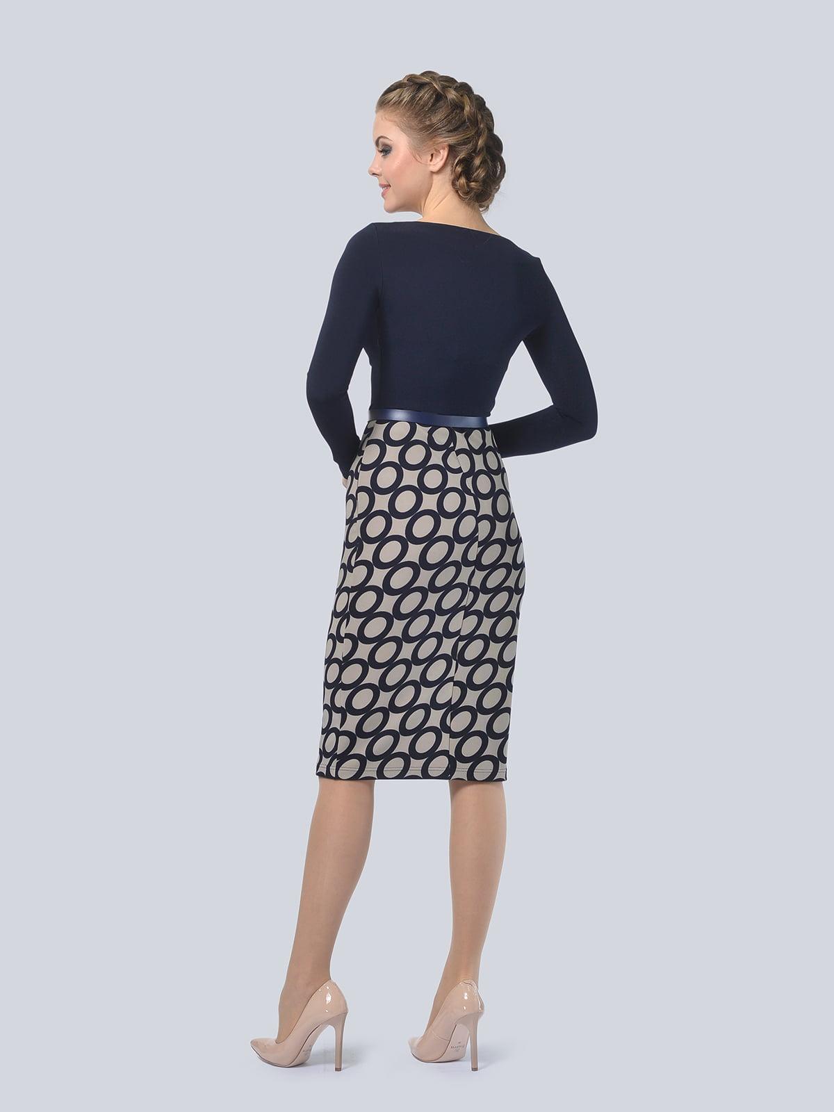 Платье темно-синее с принтом   4103001   фото 6