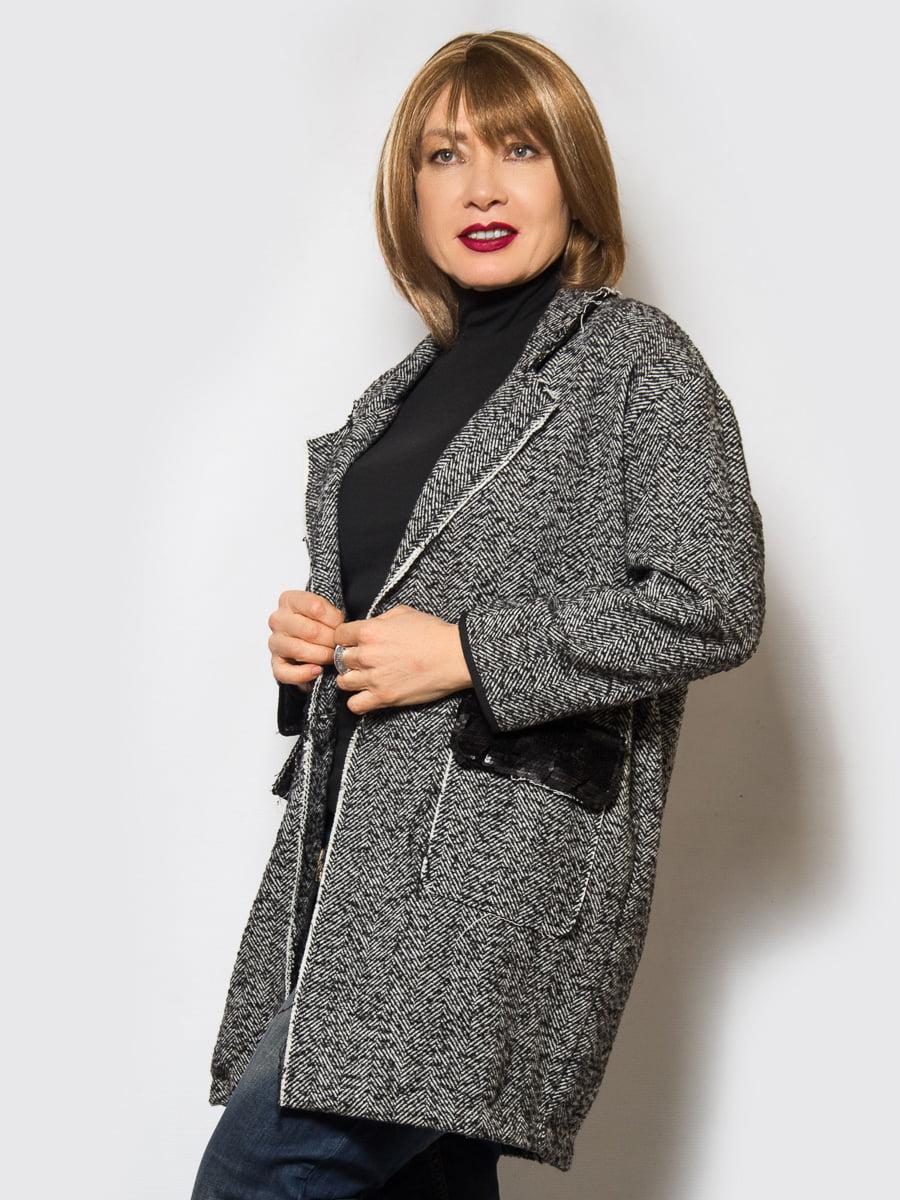 Пальто черное меланжевое | 4120203