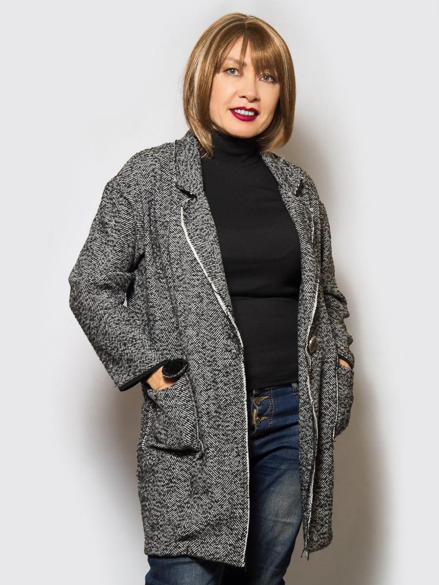 Пальто черное меланжевое | 4120203 | фото 2