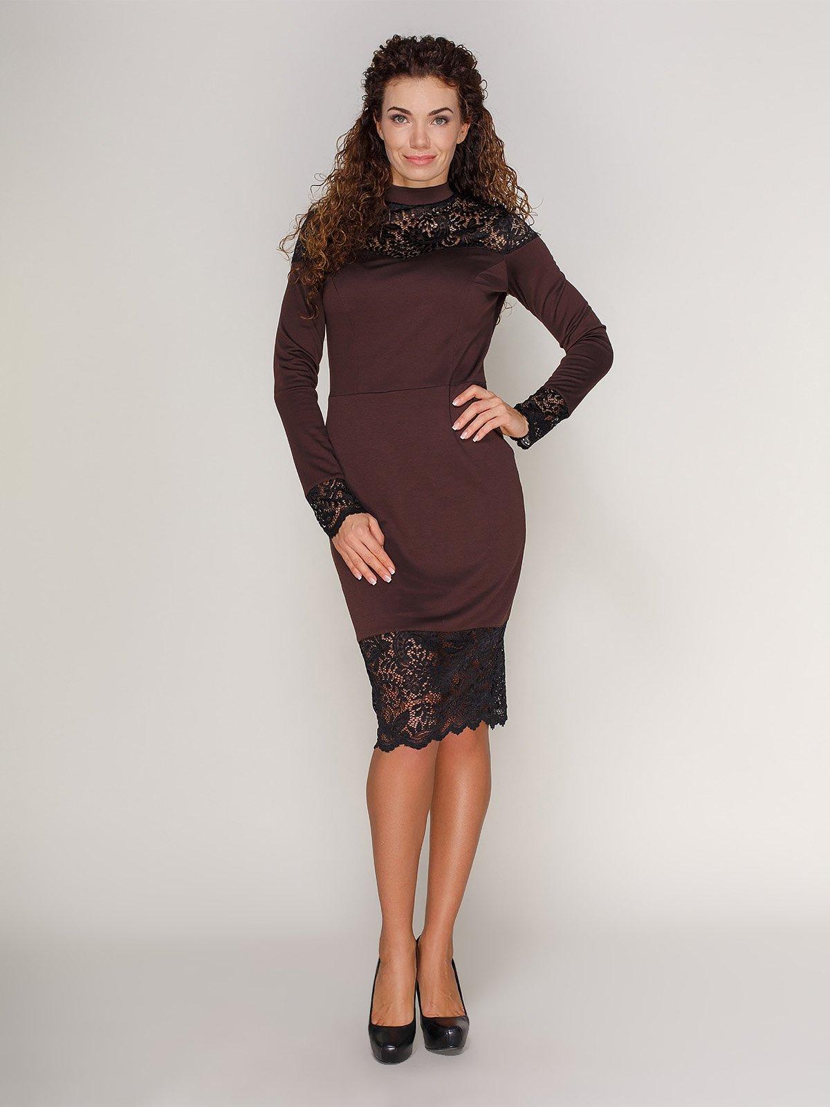Сукня з мереживом коричнева | 3821205