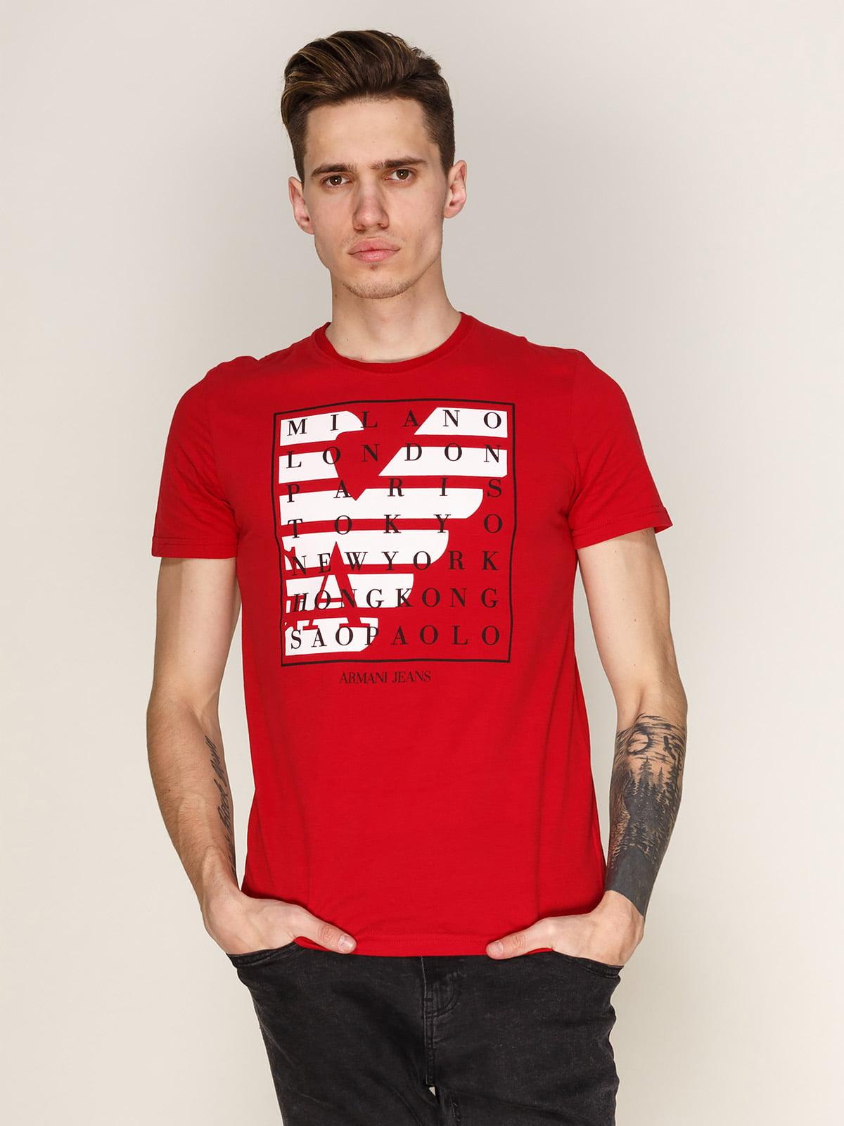 Футболка червона з принтом | 3142382