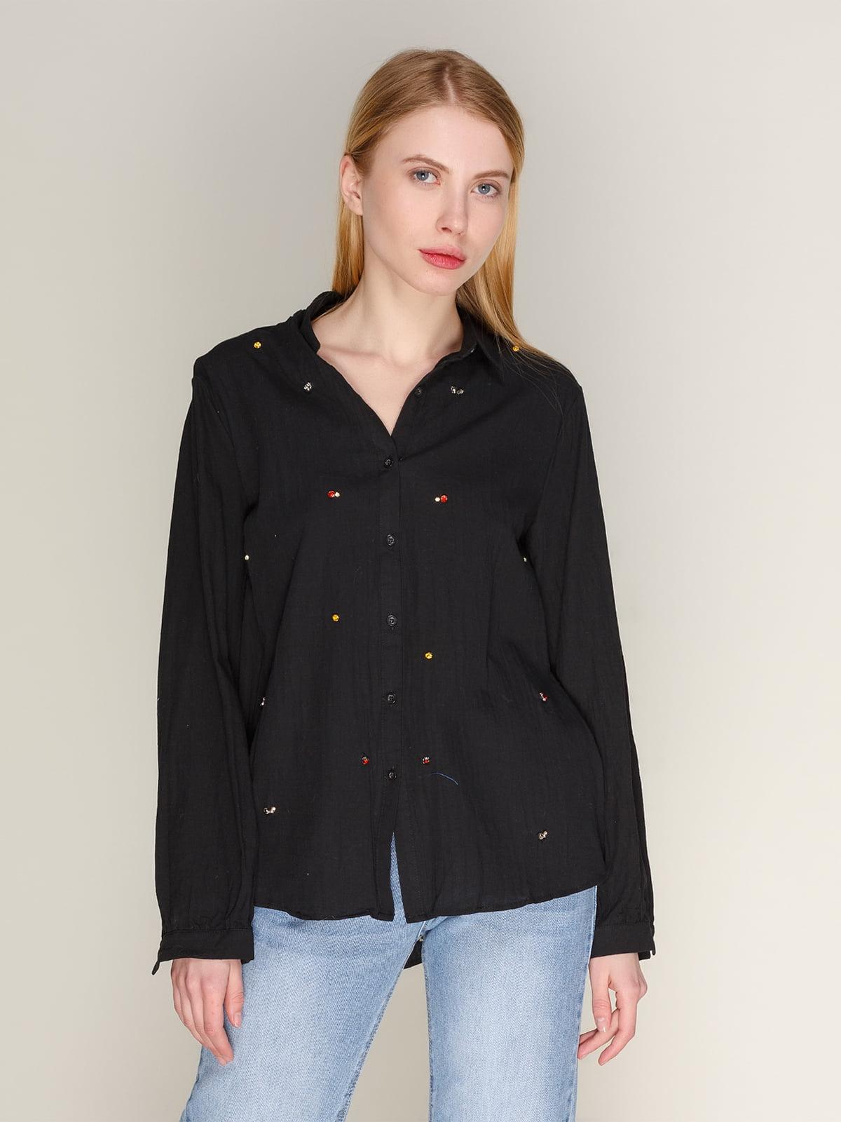 Рубашка черная со стразами | 4118825