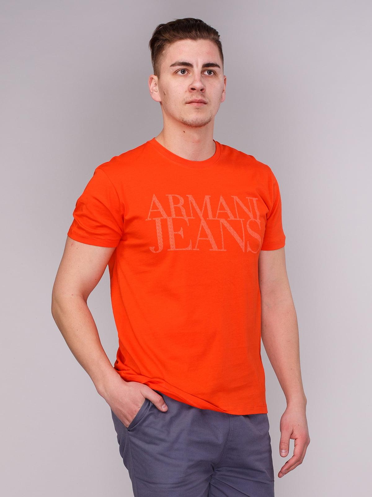 Футболка помаранчева  з принтом | 1730644
