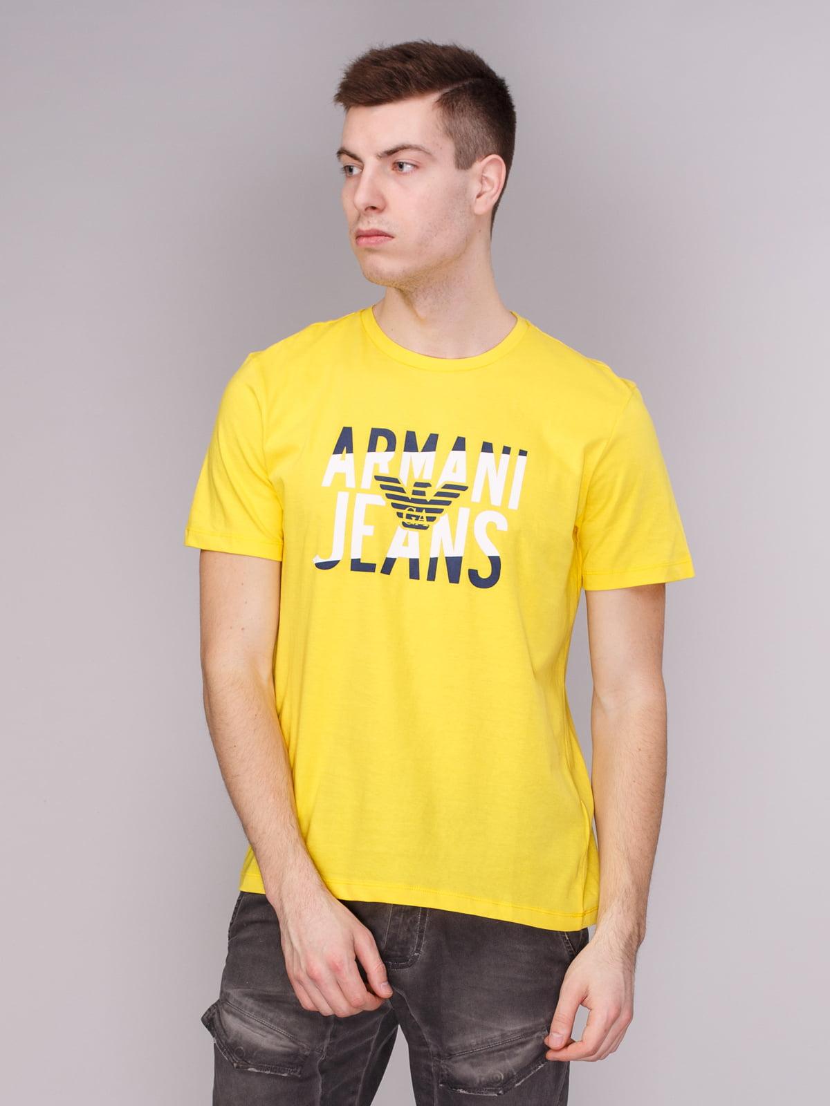 Футболка жовта з принтом | 3382959