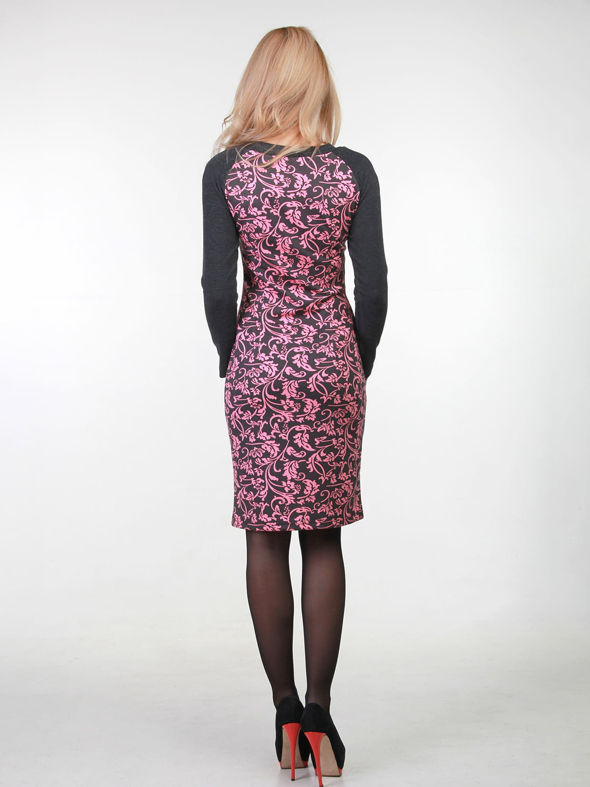 Сукня чорна в принт   3823426   фото 2