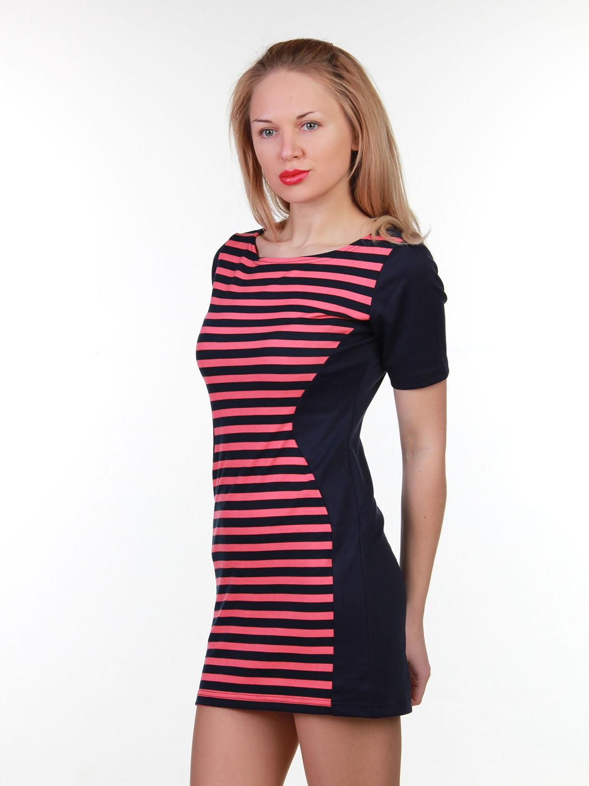 Платье сине-коралловое в полоску | 3823438 | фото 2