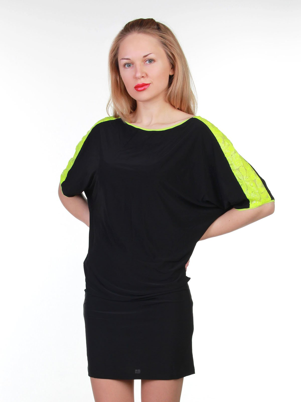 Платье черно-лимонное | 3823449