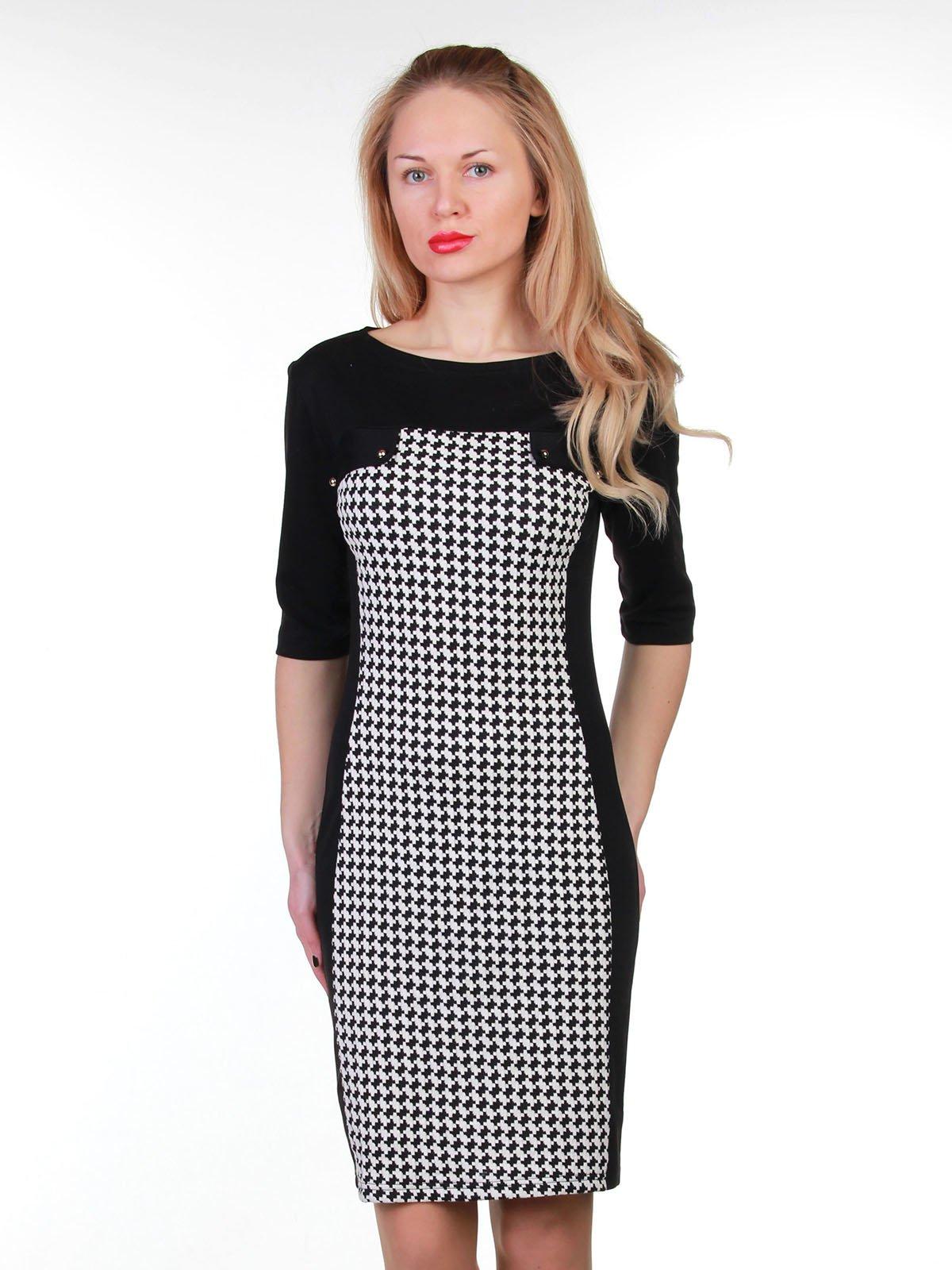 Сукня чорно-біла в принт | 3823460