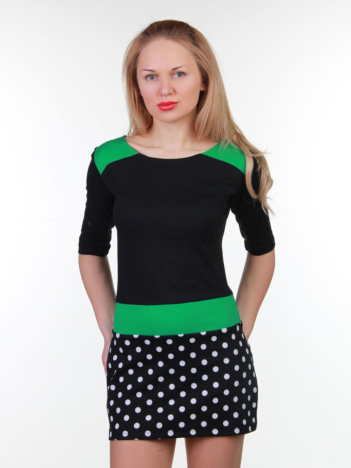 Платье двухцветное в горох | 3823468