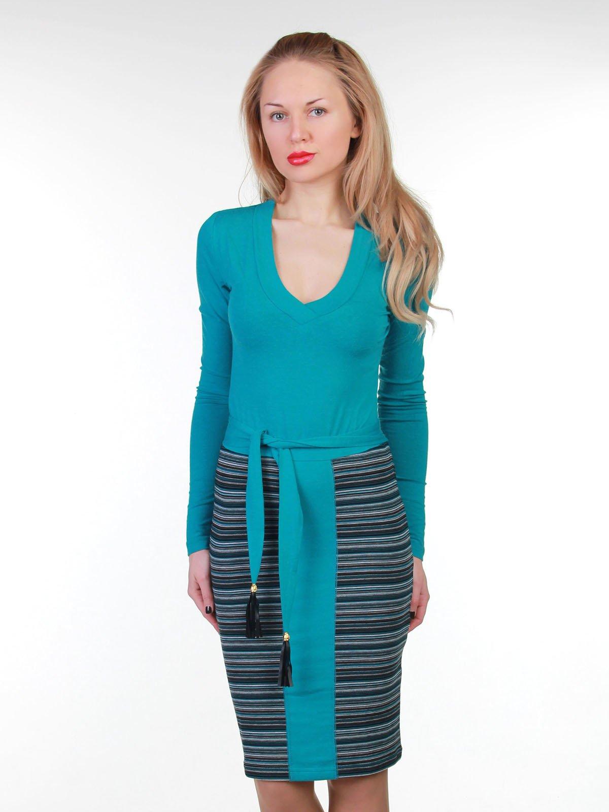 Сукня бірюзова в смужку | 3823452