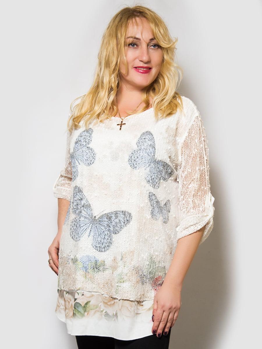 Блуза біла з принтом | 4143945