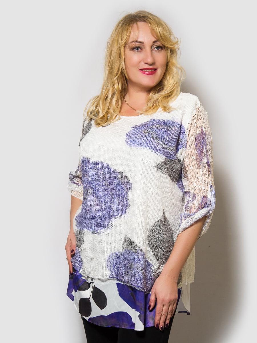 Блуза белая с цветочным принтом | 4143949
