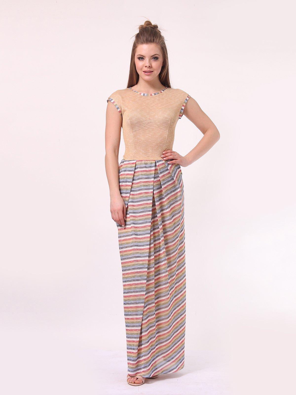 Платье бежевое с юбкой в полоску | 4142121