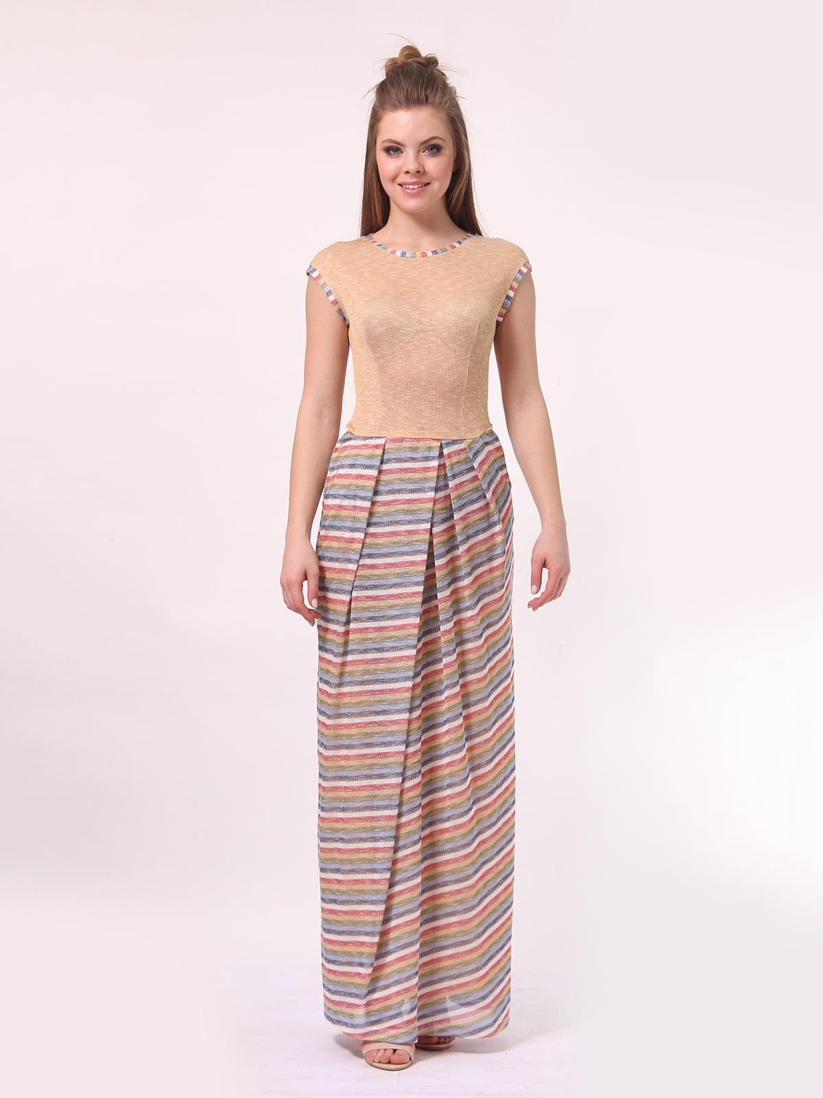 Платье бежевое с юбкой в полоску | 4142121 | фото 2