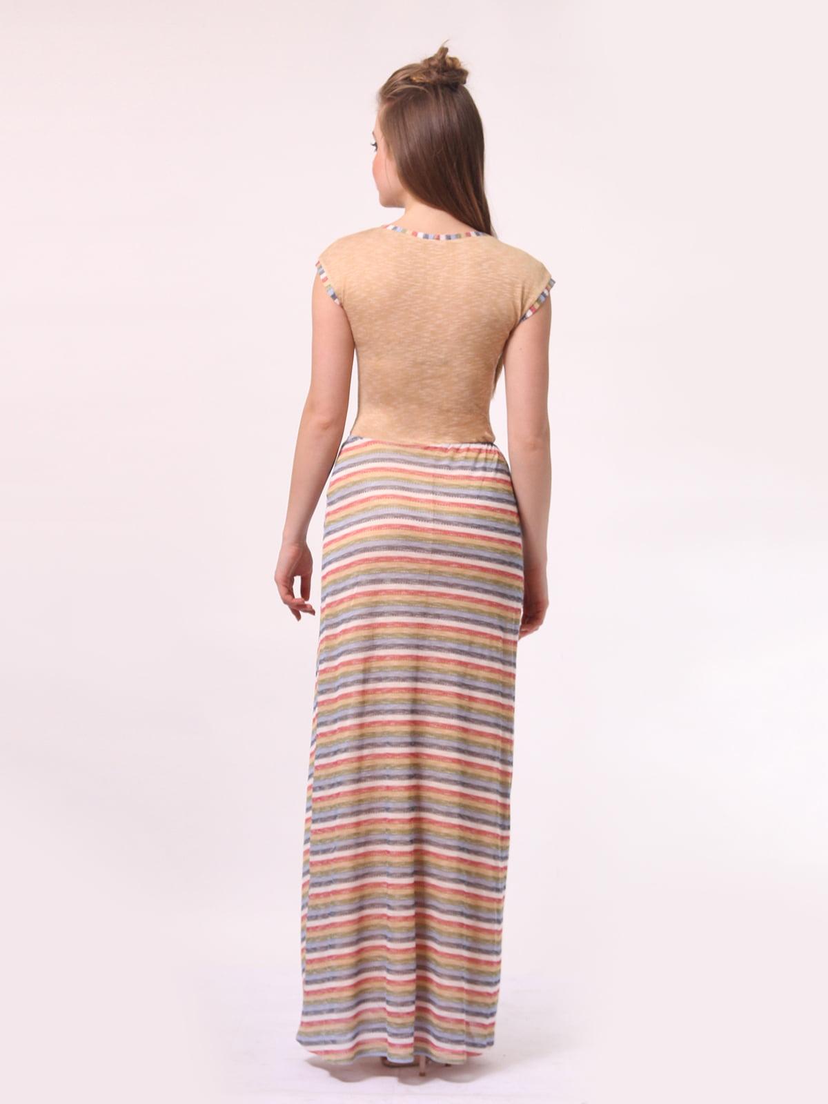 Платье бежевое с юбкой в полоску | 4142121 | фото 3