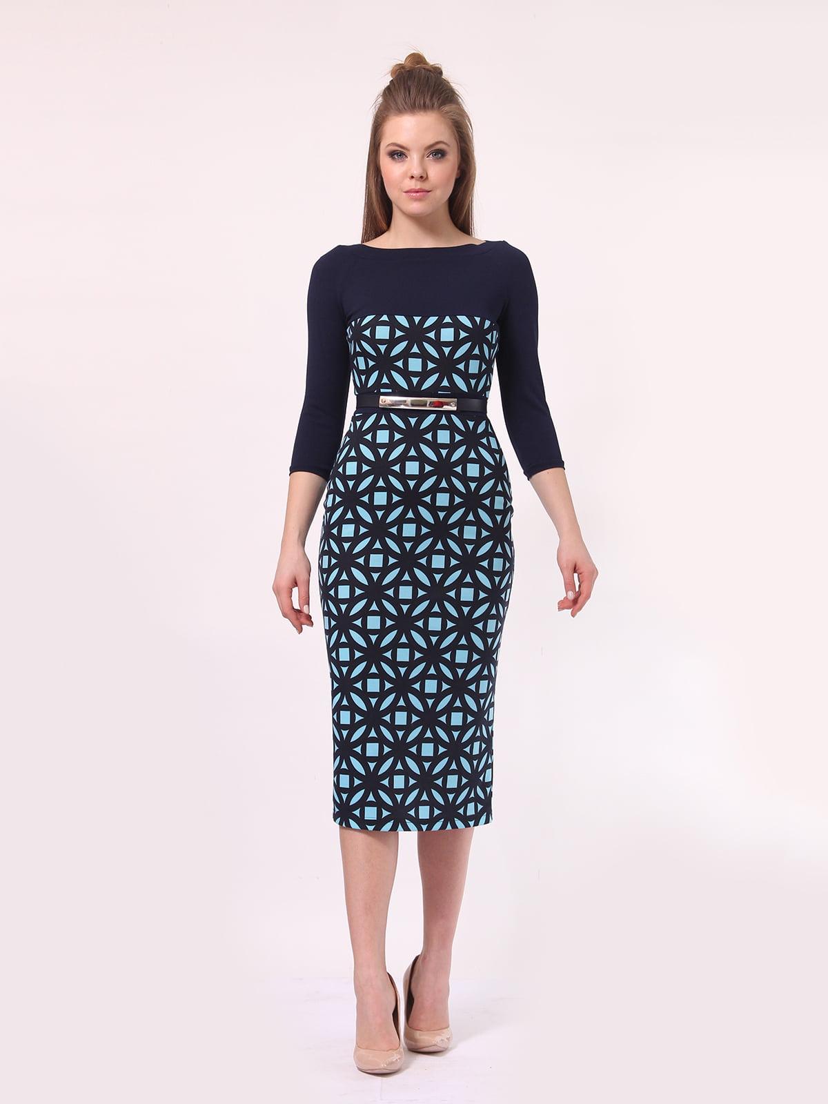 Платье темно-синее в голубой принт | 4142232 | фото 2