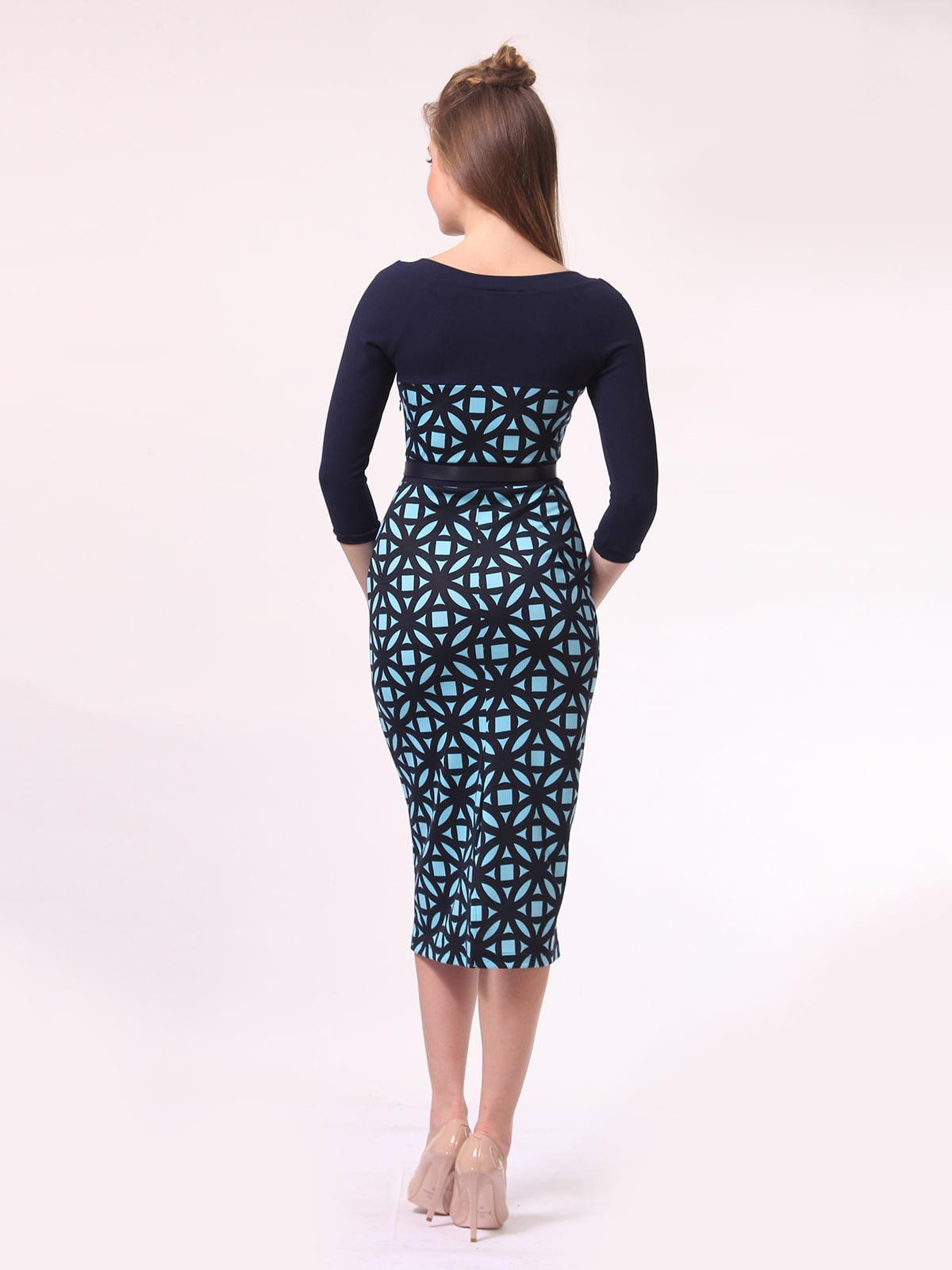 Платье темно-синее в голубой принт | 4142232 | фото 4