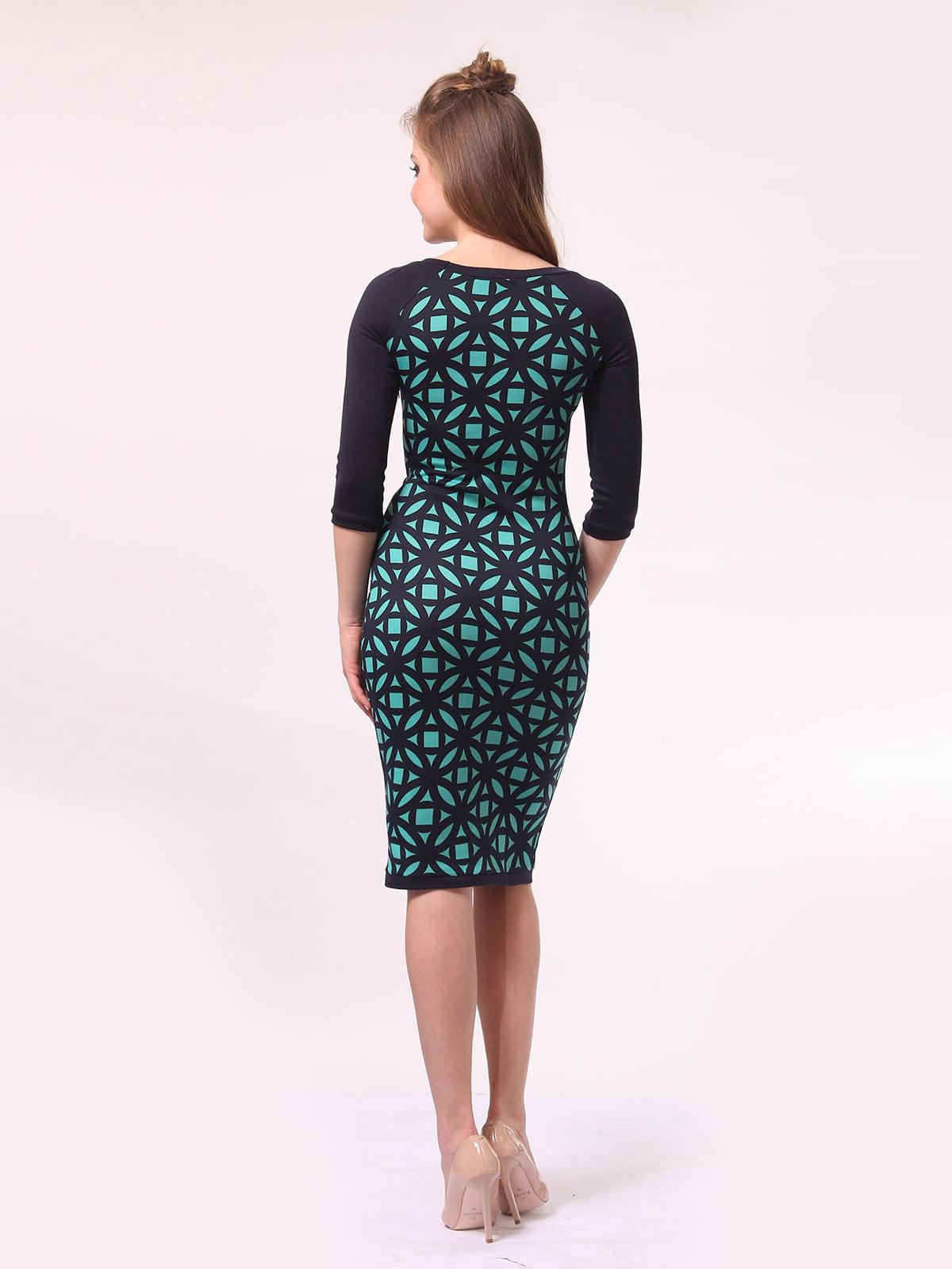 Платье темно-синее в бирюзовый принт | 4142234 | фото 4