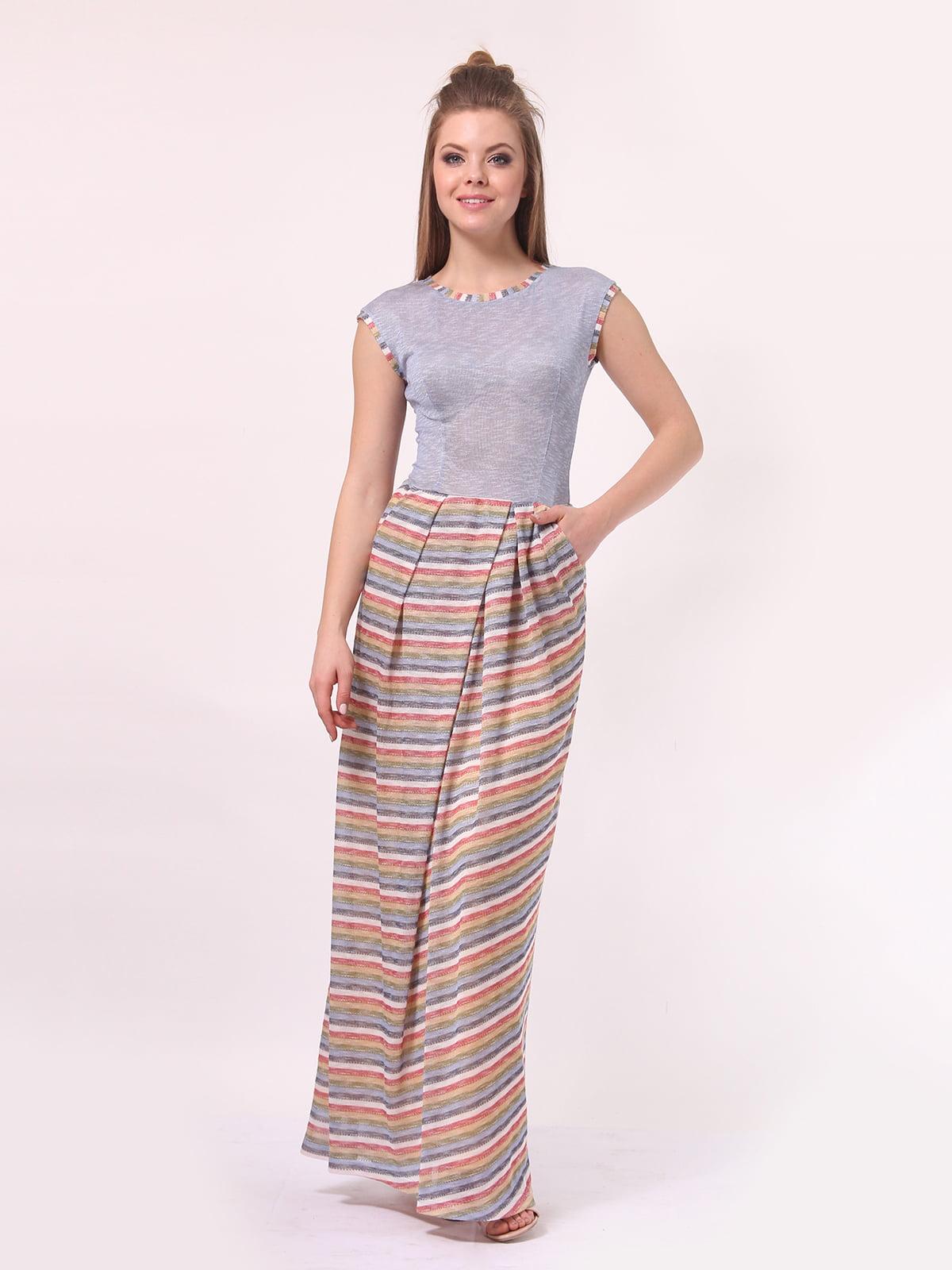 Платье голубое с юбкой в полоску | 4142291 | фото 2
