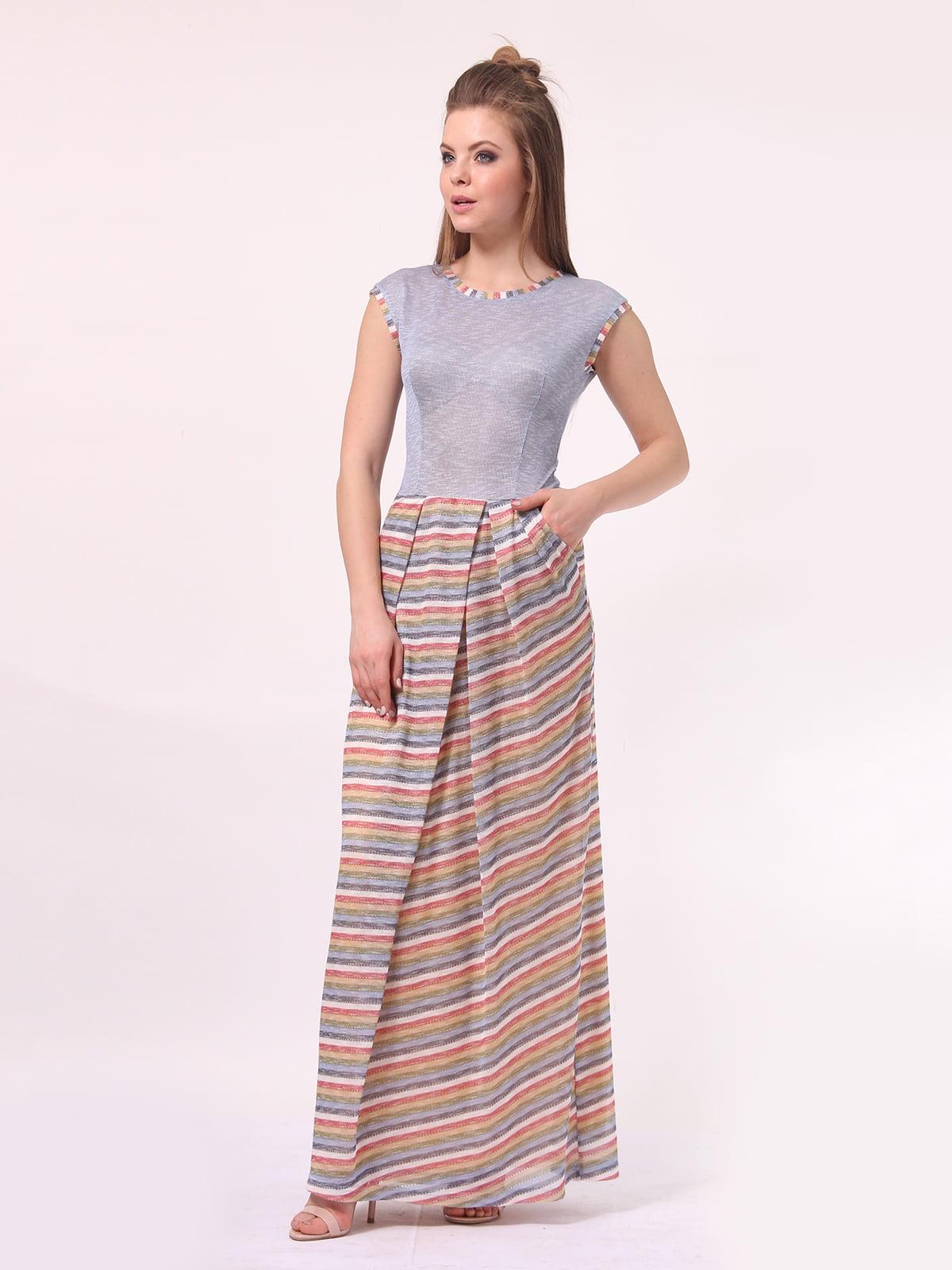 Платье голубое с юбкой в полоску | 4142291 | фото 3